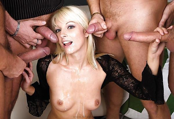 Tits on double cumshot