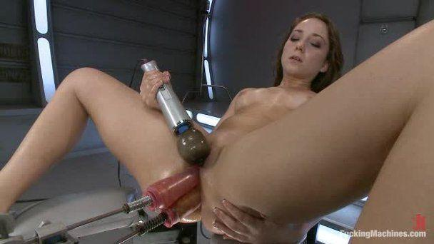Girls being fucked by dildo machines