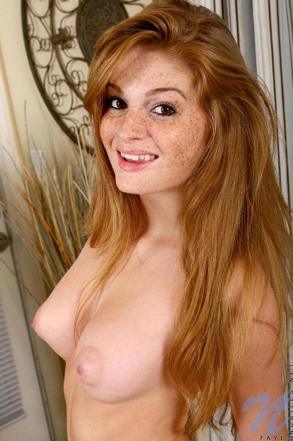 with red Sexy freckles heads nude