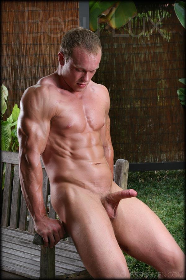 Nude men shaving