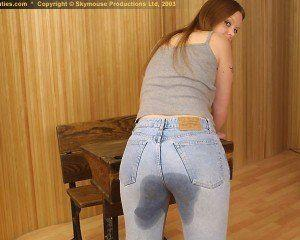 best of Peeing pants jeans Girl