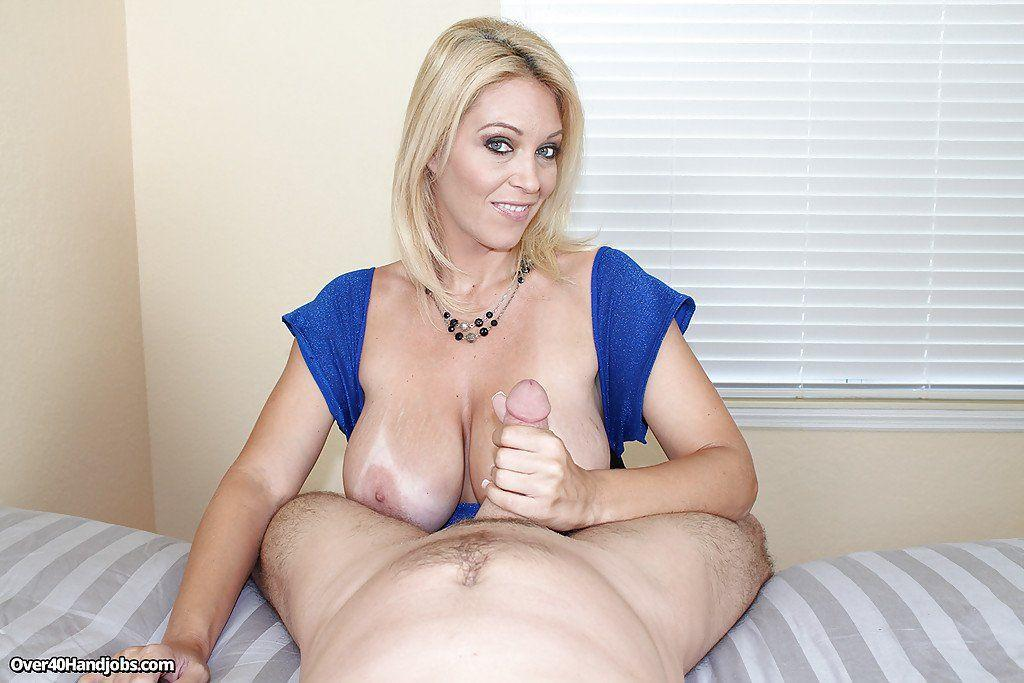 Old blonde handjob