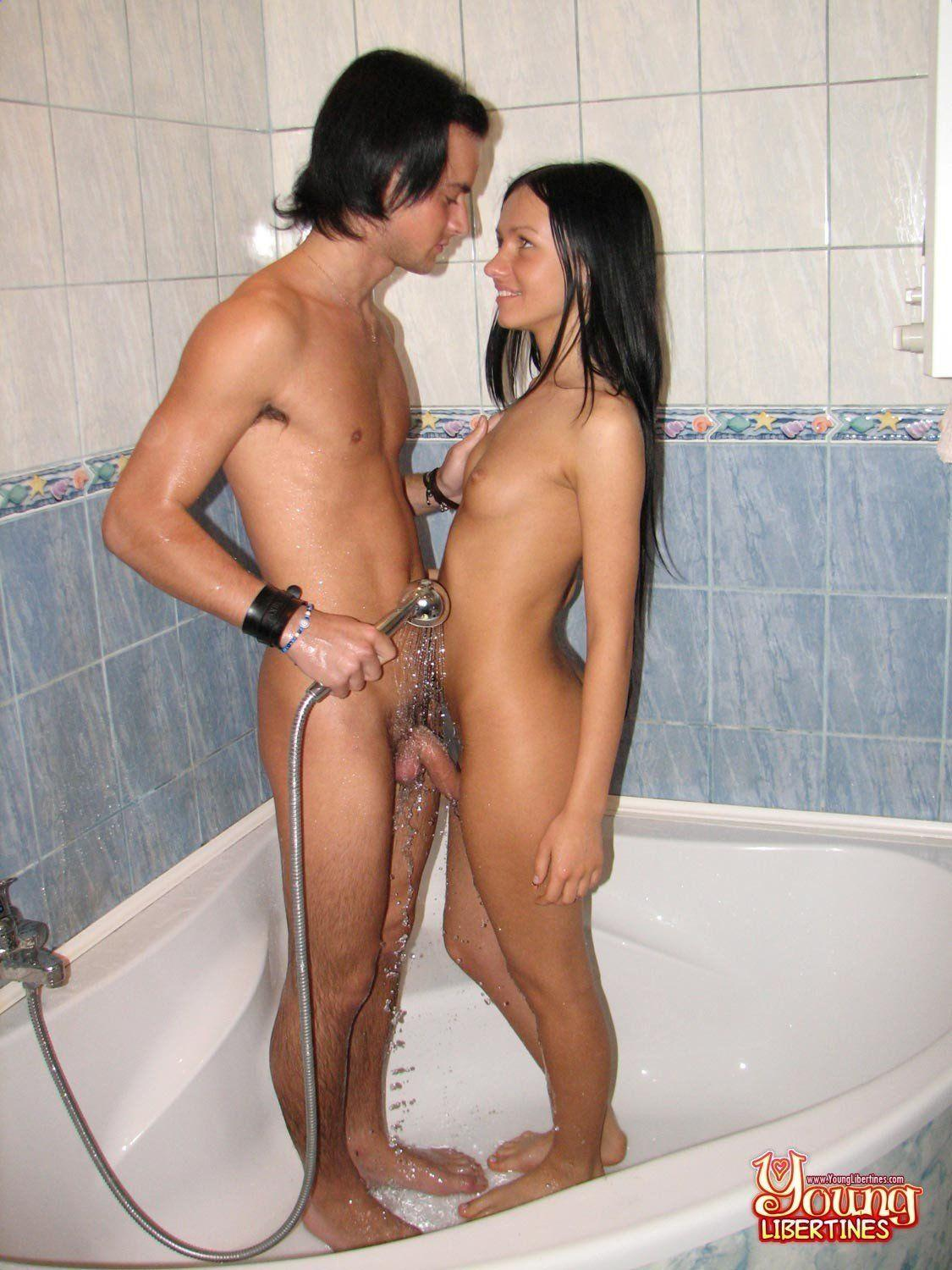 having sex naked with shower head
