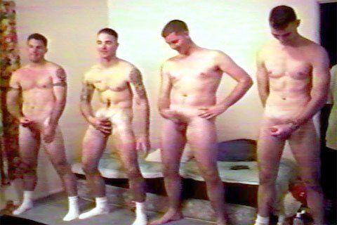 Nude athletic males circle jerk