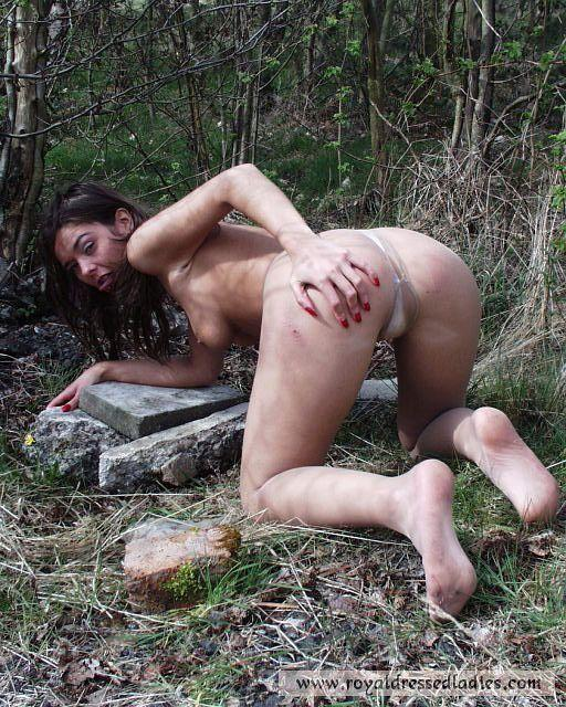 Pantyhose sex outdoors