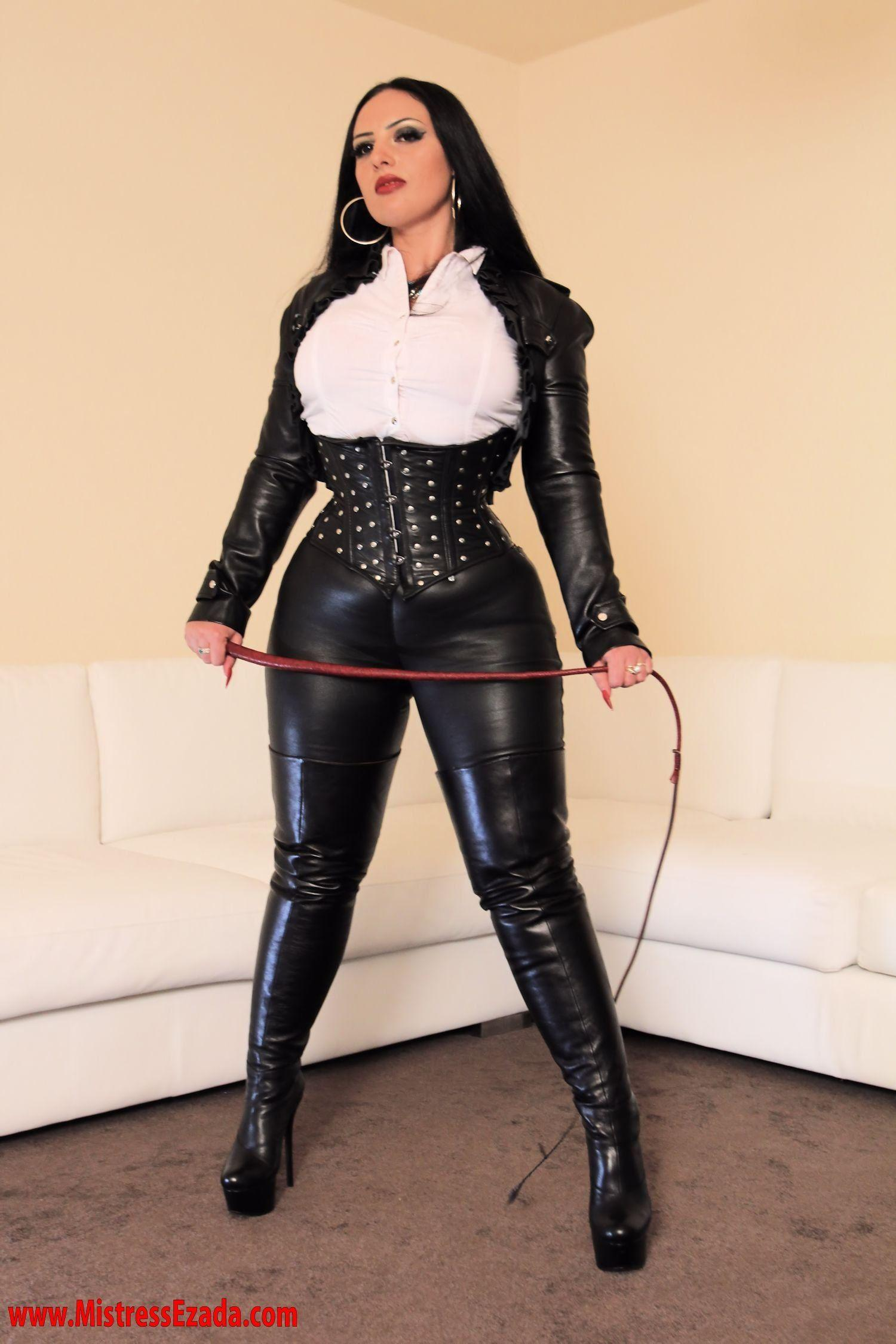 Mature dominatrix leather boots