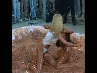 Mud wrestling pantyhose stockings